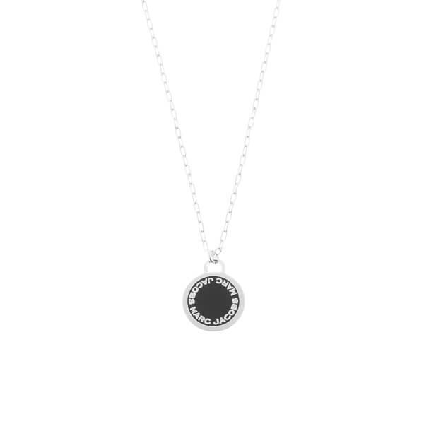Marc Jacobs Women's Enamel Logo Disc Pendant Necklace - Black/Argento
