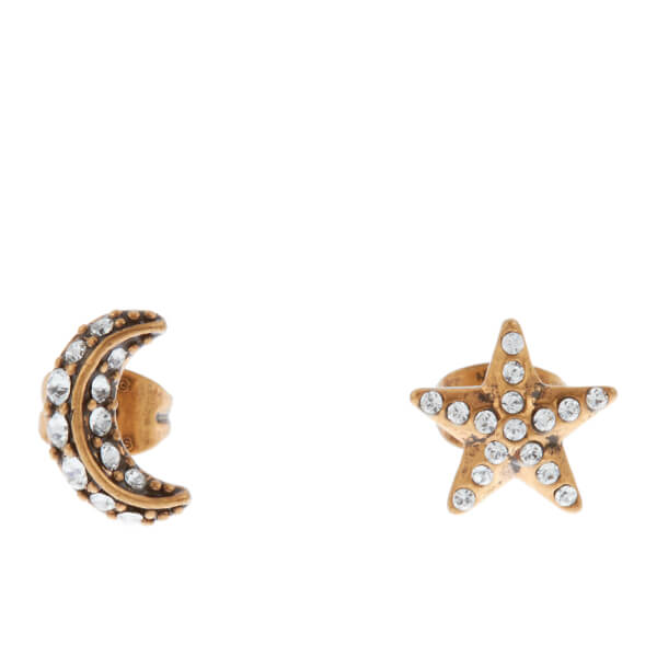 Marc Jacobs Women's Moon and Stars Stud Earrings - Crystal/Antique Gold