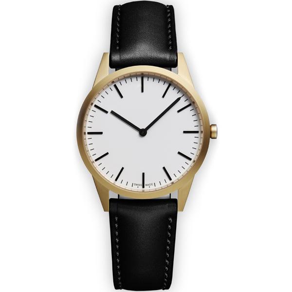 Uniform Wares Men's C35 Pvd Gold B Italian Nappa Leather Wristwatch - Black