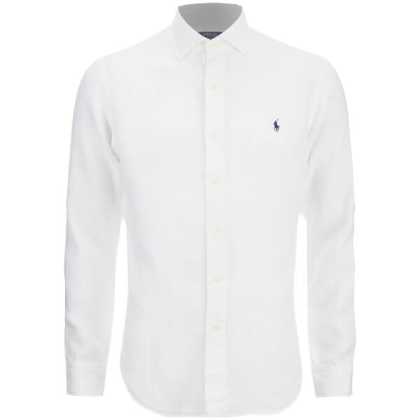 Polo Ralph Lauren Men's Slim Fit Long Sleeve Linen Shirt - White