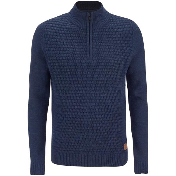 Threadbare Men's Redford Textured Quarter Zip Neck Funnel Knitted Jumper - Rich Navy