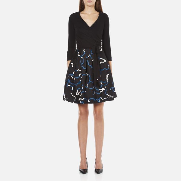 Diane von Furstenberg Women's Jewel Wrap Dress with Mikado Skirt - Black