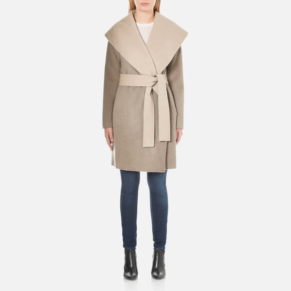 Diane von Furstenberg Women's Jenna Wrap Around Coat - Taupe/Oatmeal