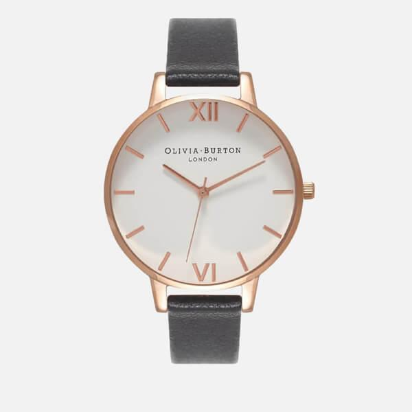 Olivia Burton Women's White Big Dial Watch - Black/Rose Gold