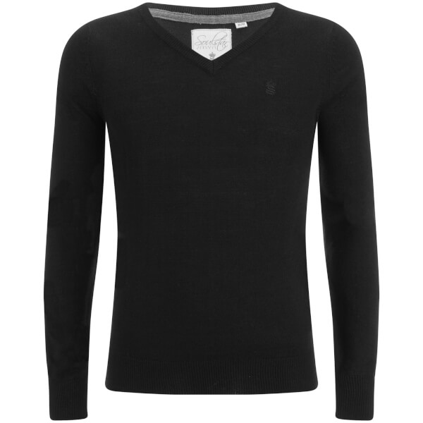 Soul Star Men's Alpha V Neck Jumper - Black