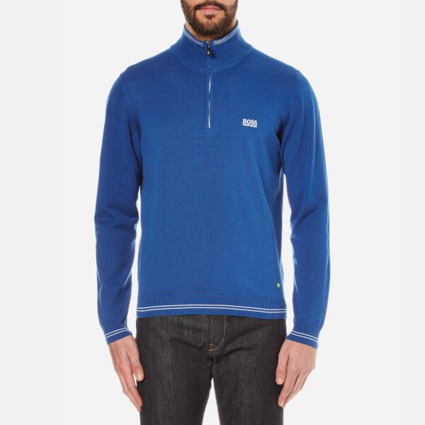 BOSS Green Men's Zime Zip Neck Knitted Jumper - Open Blue: Image 1