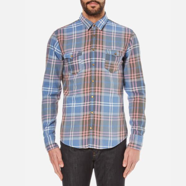 BOSS Orange Men's Edoslime Checked Shirt - Open Blue