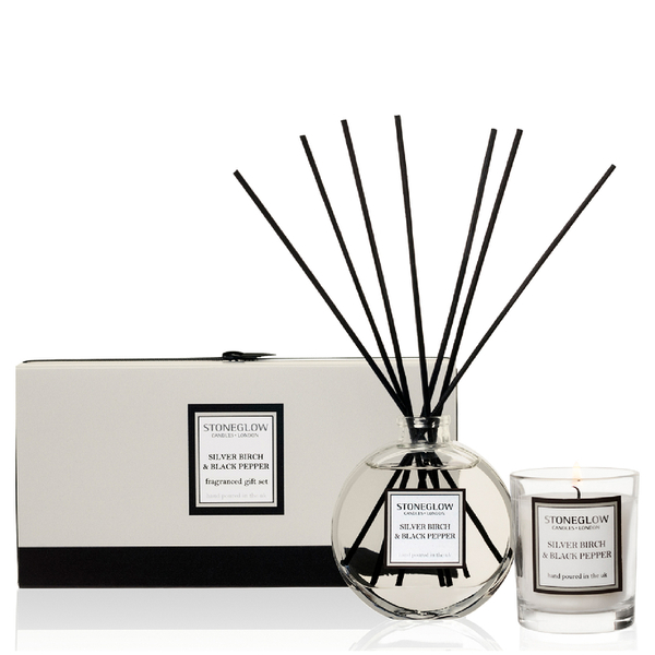Stoneglow Silver Birch and Black Pepper Candle and Reed Gift Set