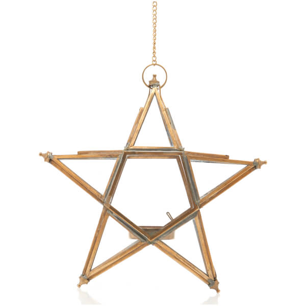 Nkuku Small Glass Hanging Star - Antique Brass