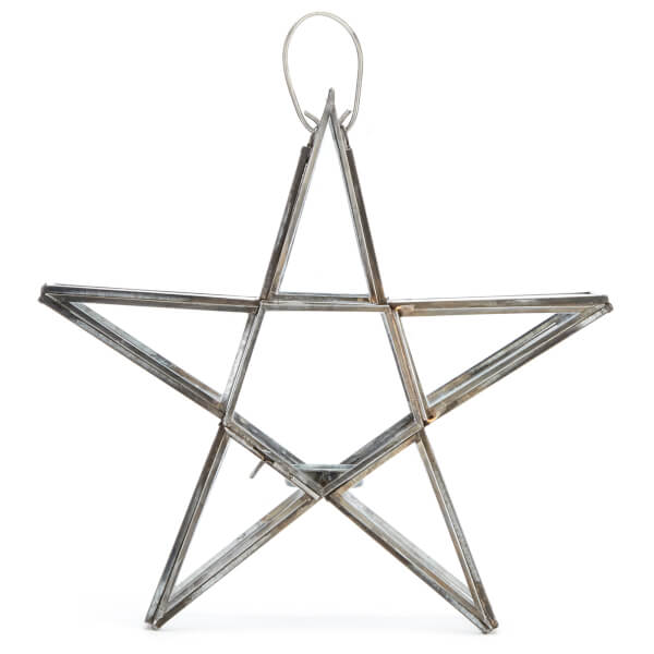 Nkuku Sanwi Standing Star T-Light Holder 26.5 x 28 cm - Antique Zinc