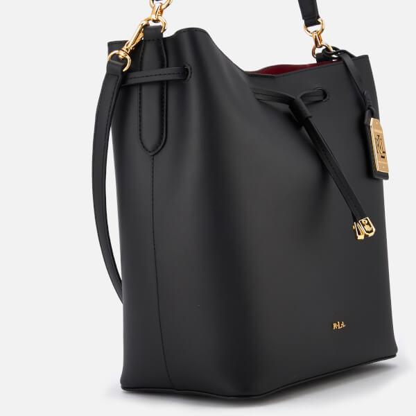 252fc019b16b Lauren Ralph Lauren Women s Dryden Debby Drawstring Bucket Bag - Black Crimson   Image 4