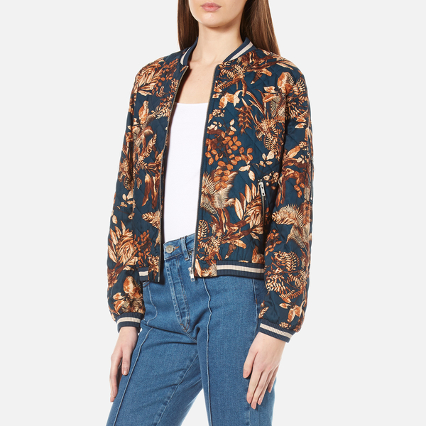 Gestuz Women's Brielle Printed Bomber Jacket - Teal Flower Print ...