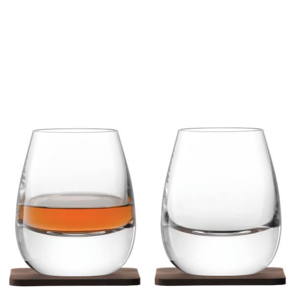 LSA Whisky Islay Tumblers & Walnut Coasters - 250ml - Set of 2
