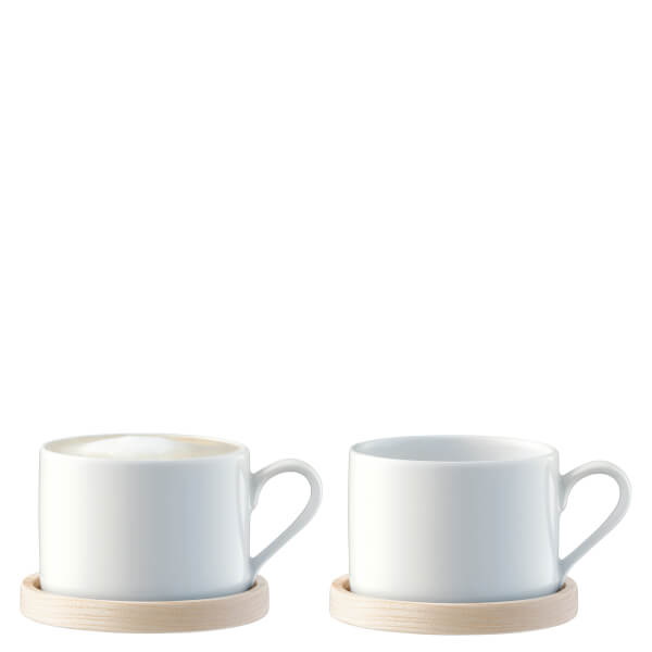 LSA Circle Tea & Coffee Cups with Ash Saucers - 0.25L - Set of 2