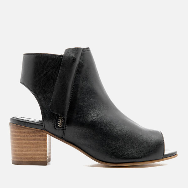 Dune Women's Joanna Peep Toe Leather Ankle Boots - Black: Image 1