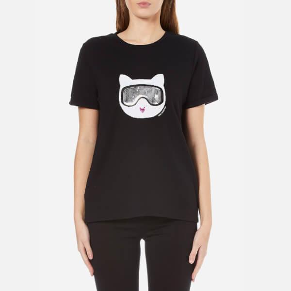 Karl Lagerfeld Women's Furry Winter Choupette T-Shirt - Black