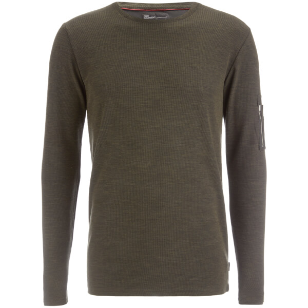 Dissident Men's Astin Zip Detail Long Sleeve Top - Khaki