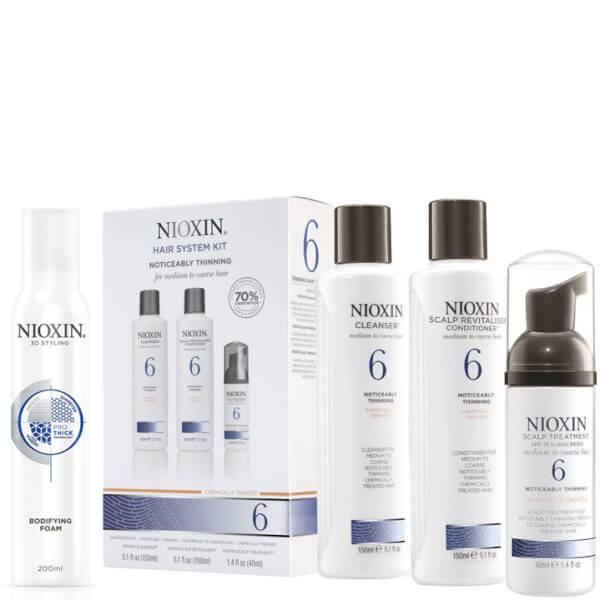NIOXIN Hair System Kit 6 y Espuma Voluminizante Surtido