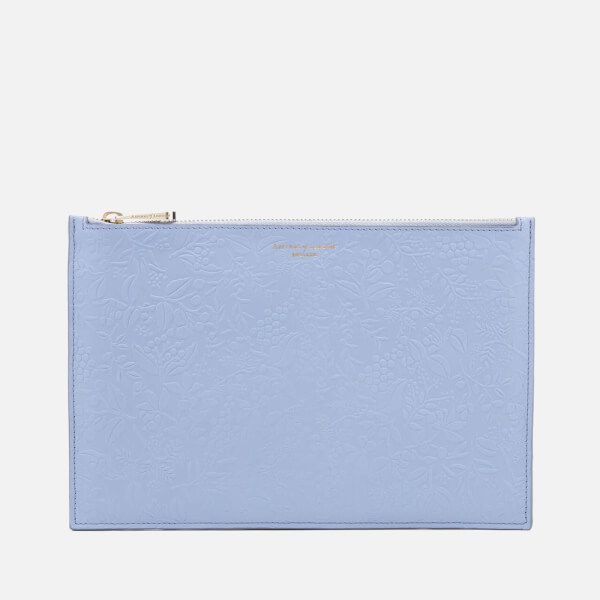 Aspinal of London Women's Essential Flat Embossed Flower Large Pouch - Blue