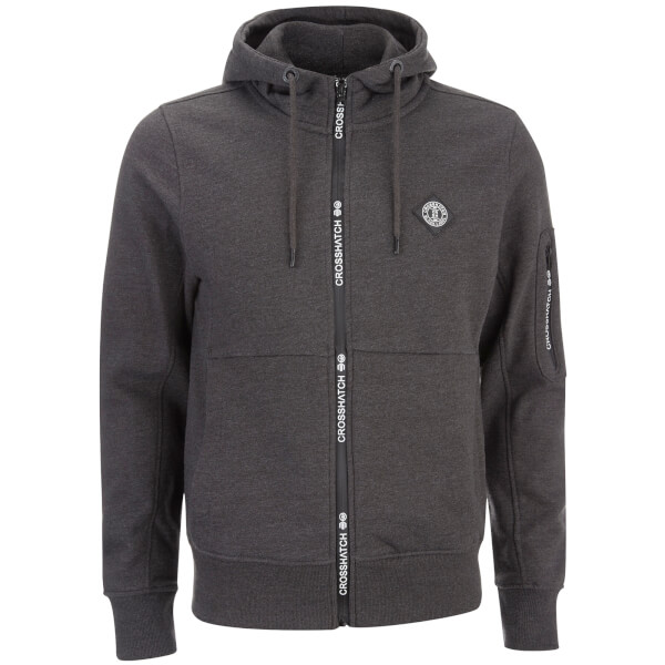 Crosshatch Men's Elsrik Zip Through Hoody - Charcoal Space Dye