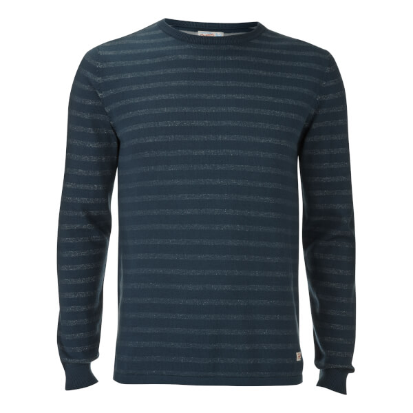 Jack & Jones Originals Men's Leo Stripe Crew Neck Jumper - Dark Blue Denim