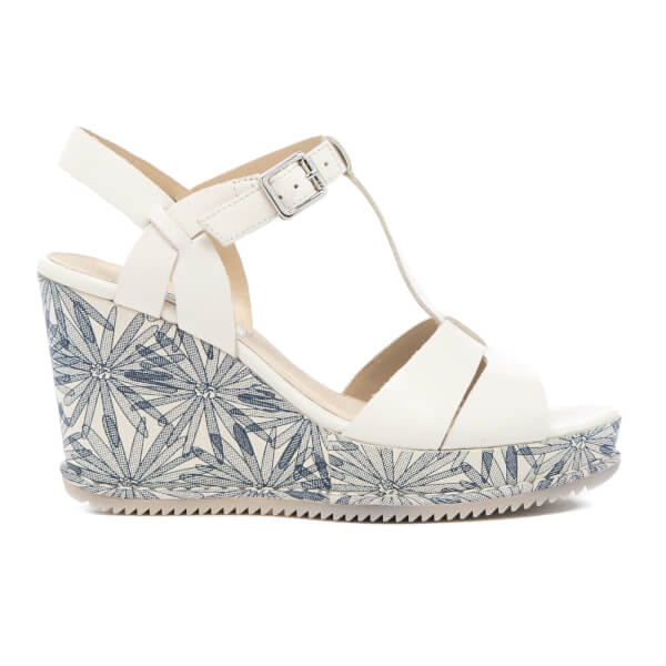 56e2eae5ef6a Clarks Women s Adesha River Leather T Bar Wedged Sandals - White  Image 1