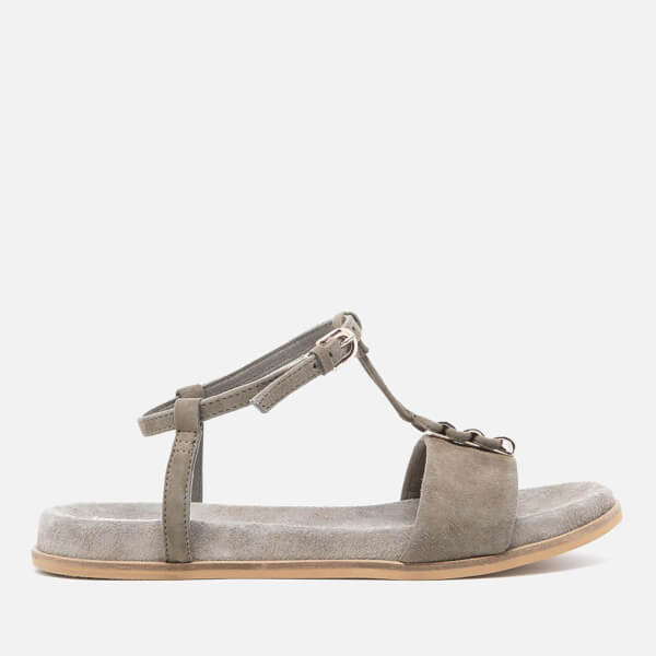 Clarks Women's Agean Cool Suede T Bar Sandals - Sage