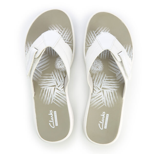 93b46f717152 Clarks Women s Brinkley Calm Toe Post Sandals - White Combi