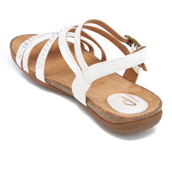 db81d2fcc477a4 Clarks Women s Autumn Peace Leather Strappy Sandals - White  Image 4