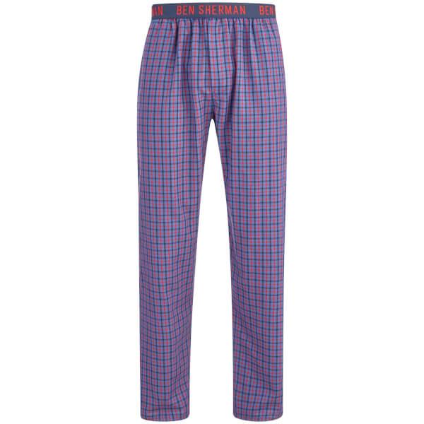 Ben Sherman Men's Check Scot Lounge Pants - Navy/Red