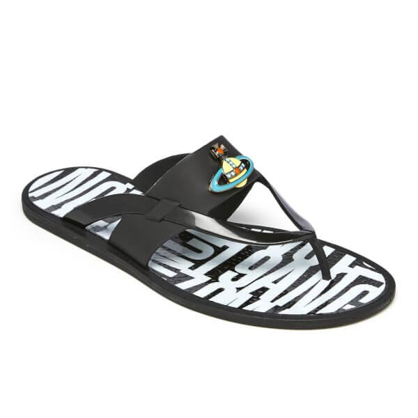 1ff3b82290b Vivienne Westwood MAN Men's Orb Enamelled Flip Flops - Black | FREE ...