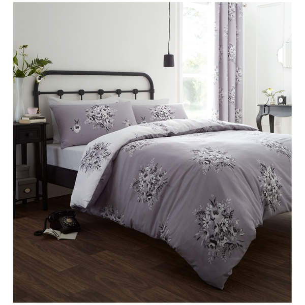 Catherine Lansfield Floral Bouquet Bedding Set - Grey