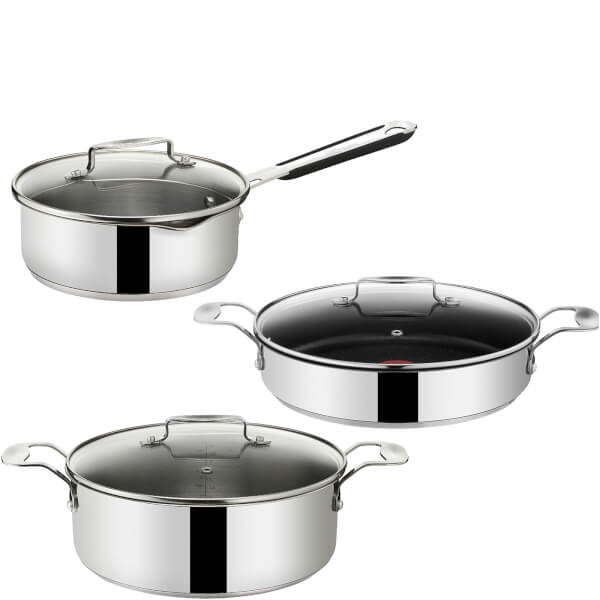 jamie oliver by tefal stainless steel 3 piece pan set iwoot. Black Bedroom Furniture Sets. Home Design Ideas