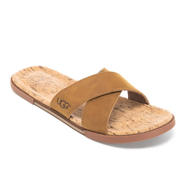 UGG Men's Ithan Cork Double Strap Leather Slide Sandals - Tamarind: Image 3