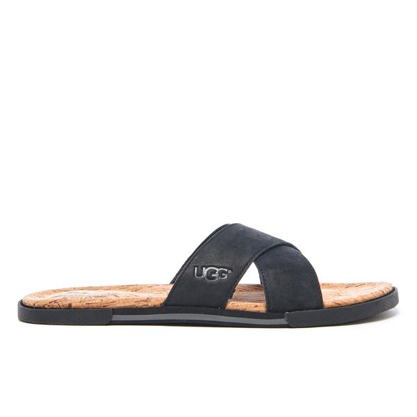 Ugg Men S Ithan Cork Double Strap Leather Slide Sandals Black Free Uk Delivery Allsole
