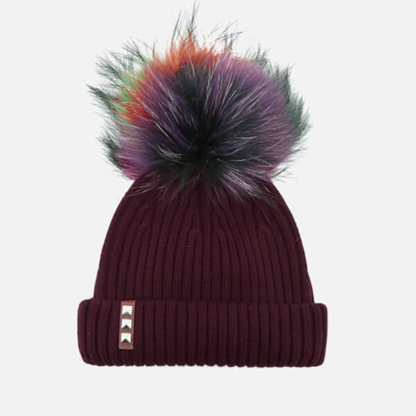 BKLYN Women's Merino Wool Hat with Rainbow Pom Pom - Maroon