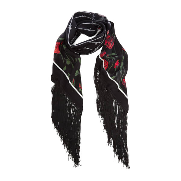Rockins Women's Roses Classic Fringed Scarf - Black