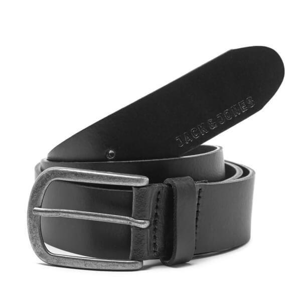Jack & Jones Men's Logo Buckle Belt - Black