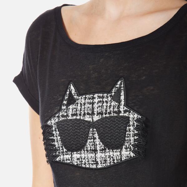 negro Imagen Choupette lino mujer color Lagerfeld para de Camiseta Karl 5 Boucle qazHXvx
