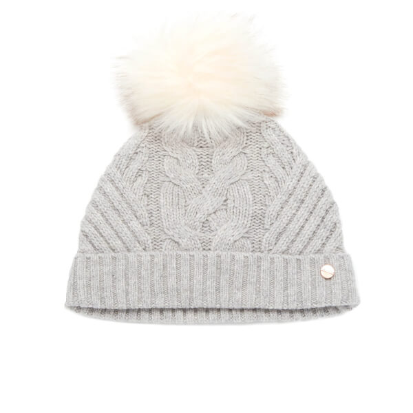 Ted Baker Women s Lisabet Cable Knitted Hat with Pom Pom - Grey  Image 1 47fcdf89457f
