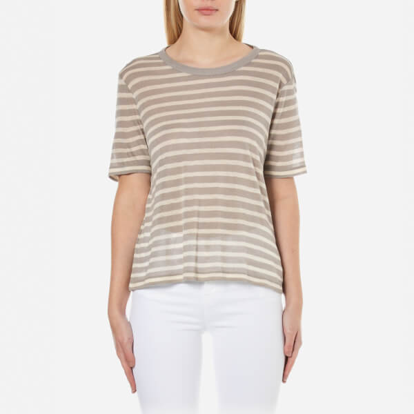 T by Alexander Wang Women's Rayon Linen Stripe Short Sleeve Cropped T-Shirt - Butter/Taupe