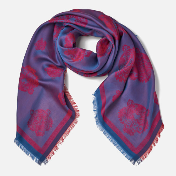 KENZO Jaquard Multi Tiger Head Scarf - Red