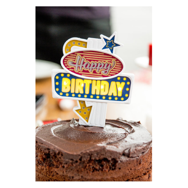Flashing 'Happy Birthday' Cake Topper