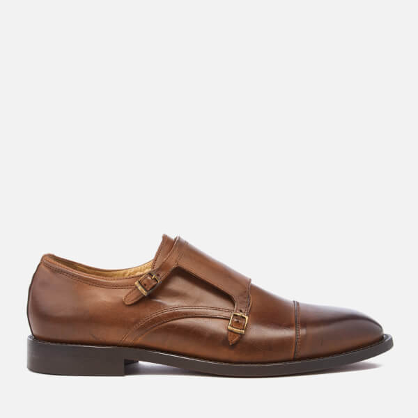 Hudson London Men's Baldwin Calf Leather Monk Shoes - Cognac