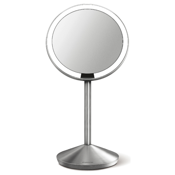 simplehuman Rechargeable Stainless Steel Sensor Mirror with Travel Case - 10x Magnification 12cm
