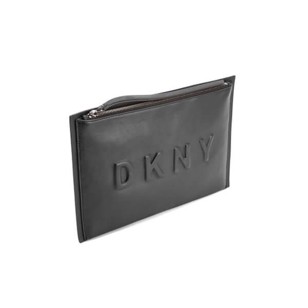 4d65bdf76f6d DKNY Women s Debossed Logo Large Clutch Pouch Bag - Black  Image 2
