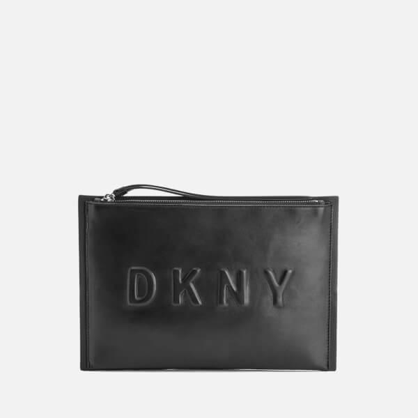 DKNY Women's Debossed Logo Large Clutch Pouch Bag - Black