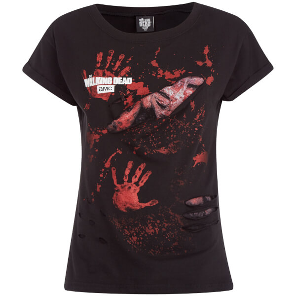 Spiral Women's Walking Dead Logo Ripped Top - Black