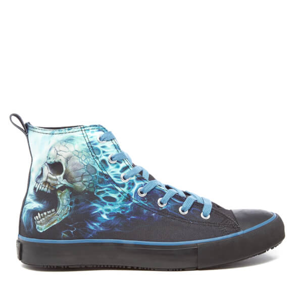 Spiral Men's Flaming Spine High Top Lace Up Sneakers - Black