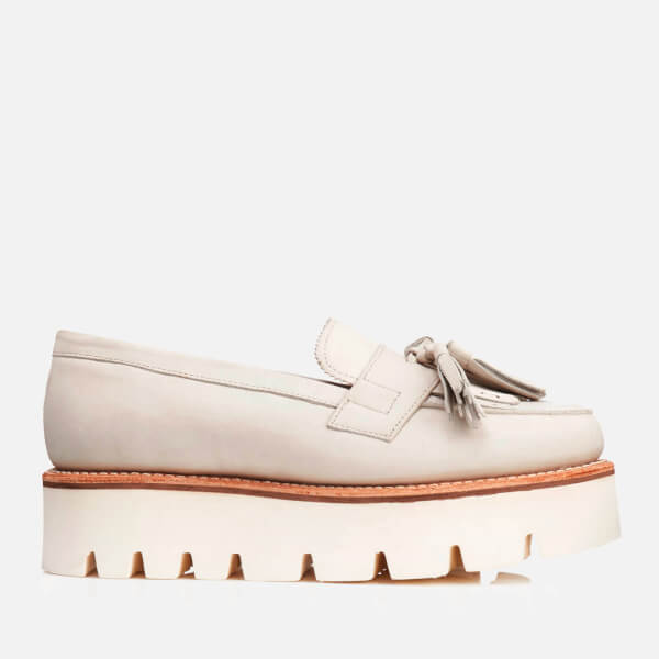 Grenson Women's Claudia Leather Flatform Tassle Loafers - Ivory